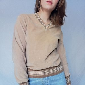 Tan v-neck 70s sweater stripes Terry cloth